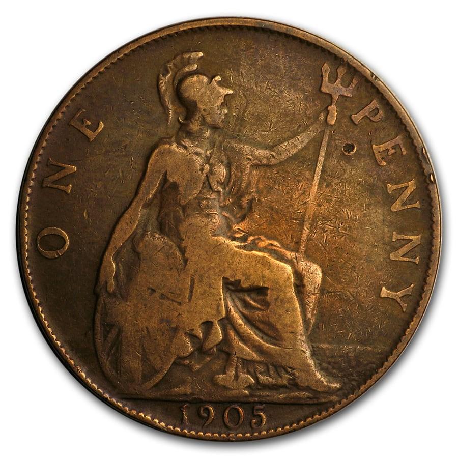 1902-1910 Great Britain Large Pennies Edward VII Avg Circ