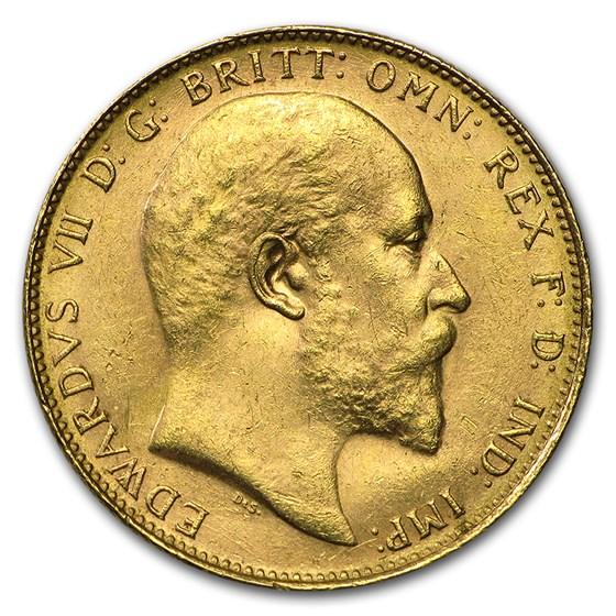 1902-1910-P Australia Gold Sovereign Edward VII AU