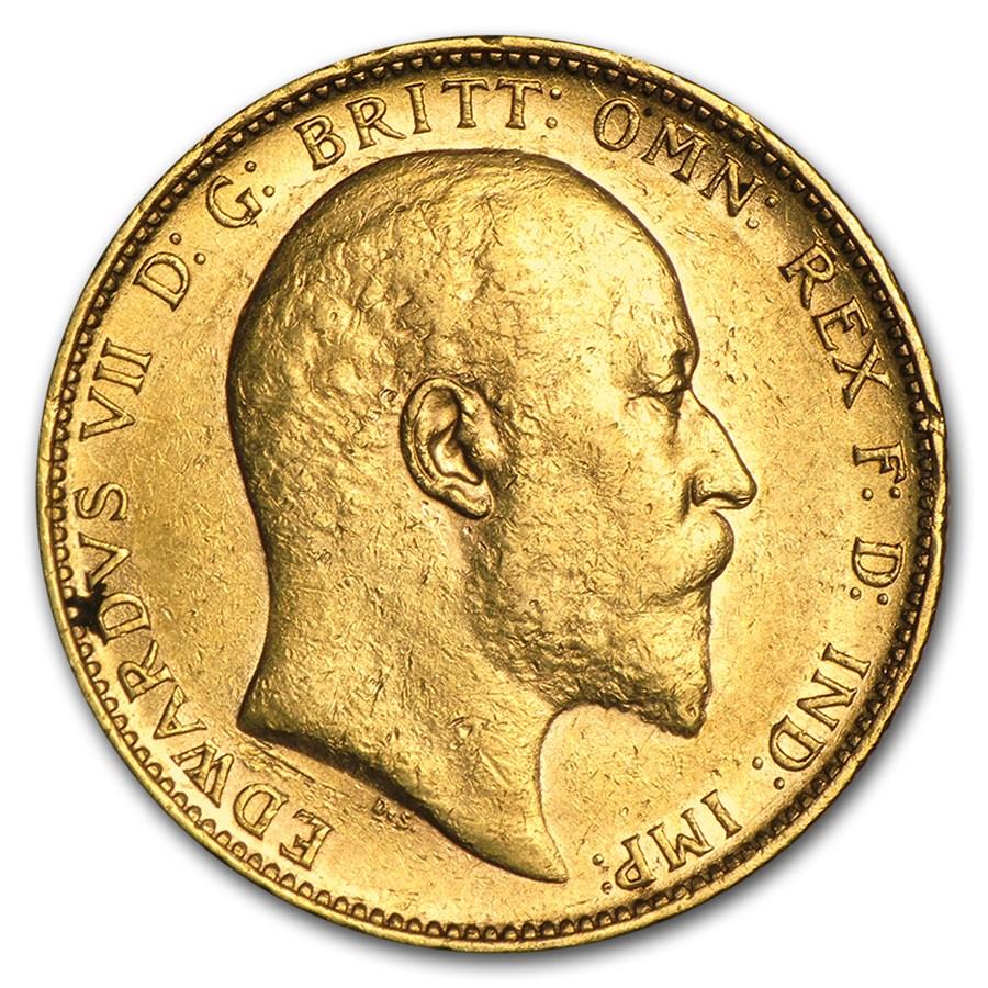 1902-1910-P Australia Gold Sovereign Edward VII Avg Circ