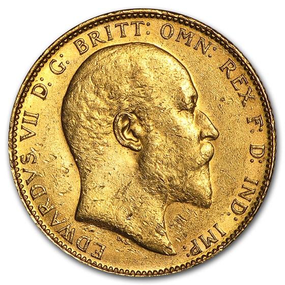 1902-1910-S Australia Gold Sovereign Edward VII AU