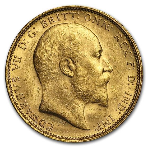 1902-1910-S Australia Gold Sovereign Edward VII Avg Circ