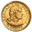 1902-1969 Peru Gold 1/2 Libra AU or Better (AGW 0.1177, Random)