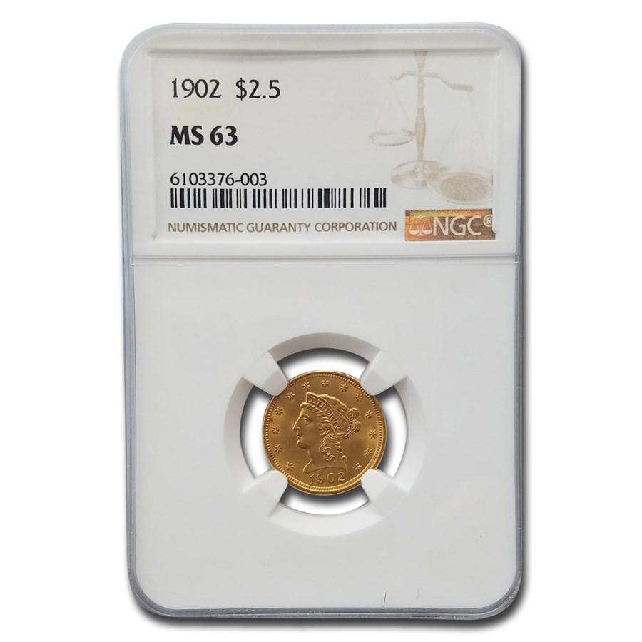 1902 $2.50 Liberty Gold Quarter Eagle MS-63 NGC
