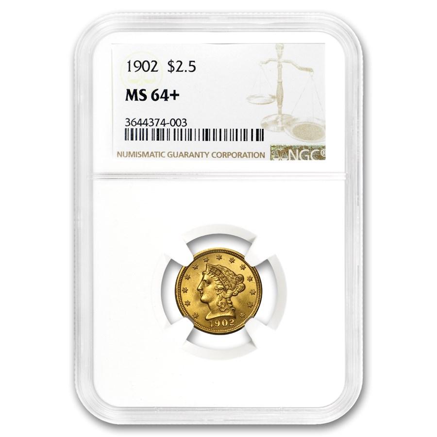 1902 $2.50 Liberty Gold Quarter Eagle MS-64+ NGC