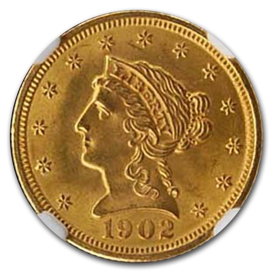 1902 $2.50 Liberty Gold Quarter Eagle MS-65 NGC
