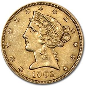 1902 $5 Liberty Gold Half Eagle AU