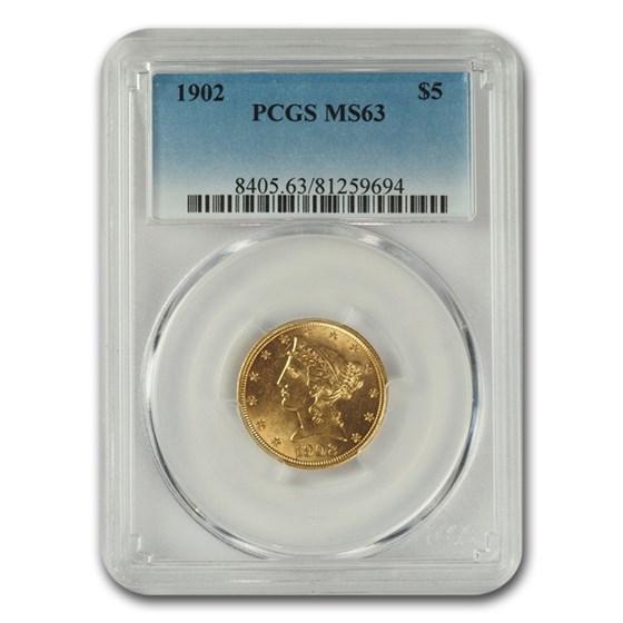 1902 $5 Liberty Gold Half Eagle MS-63 PCGS