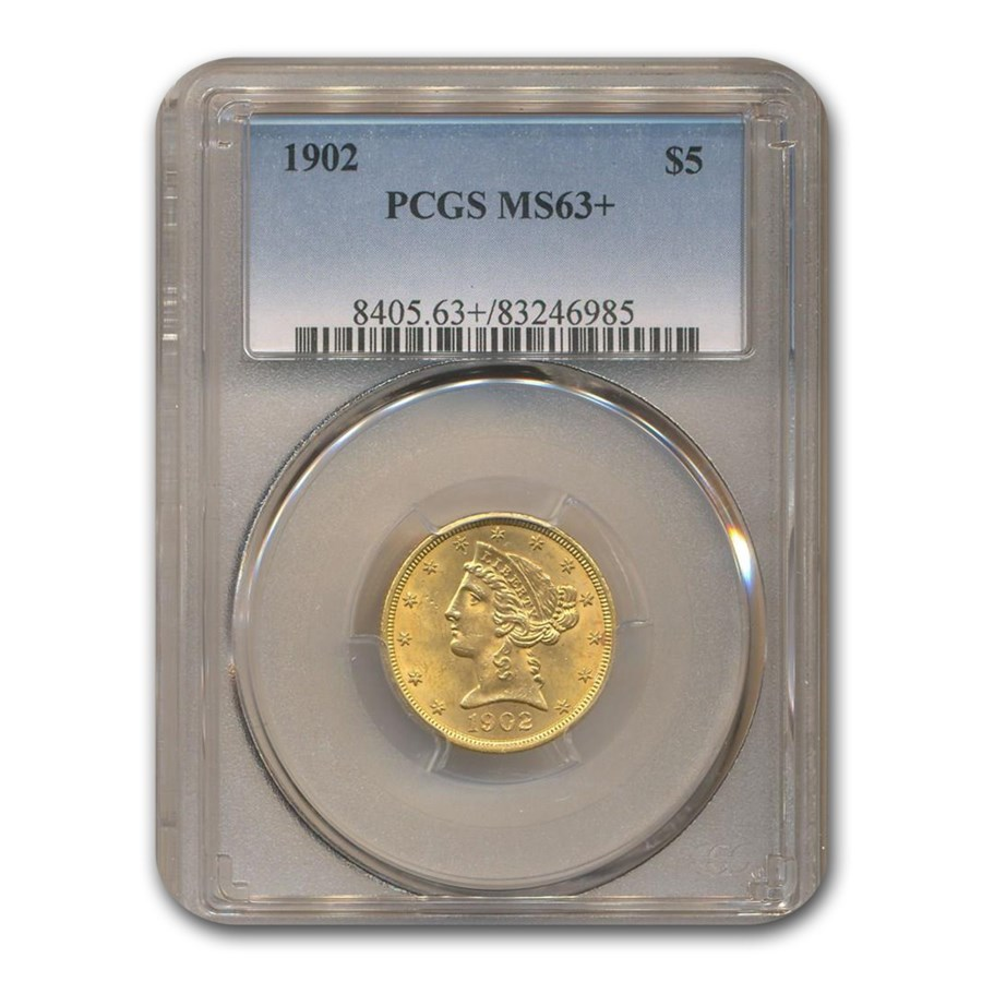 1902 $5 Liberty Gold Half Eagle MS-63+ PCGS