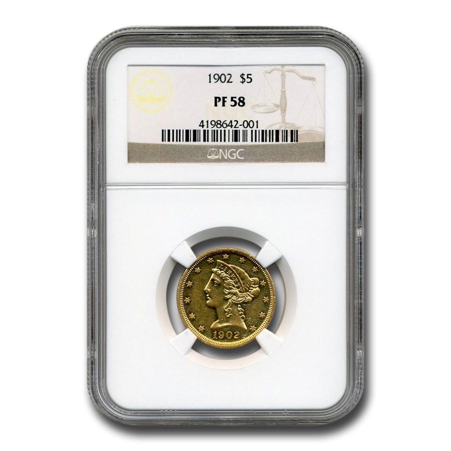 1902 $5 Liberty Gold Half Eagle PF-58 NGC
