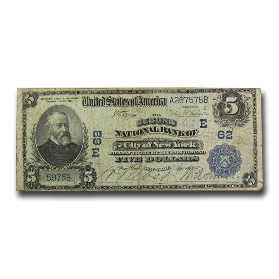1902 Date Back $5.00 New York, New York Fine (Fr#590) CH #62