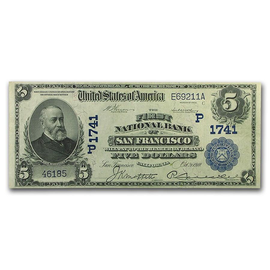1902 Date Back $5.00 San Francisco, CA XF
