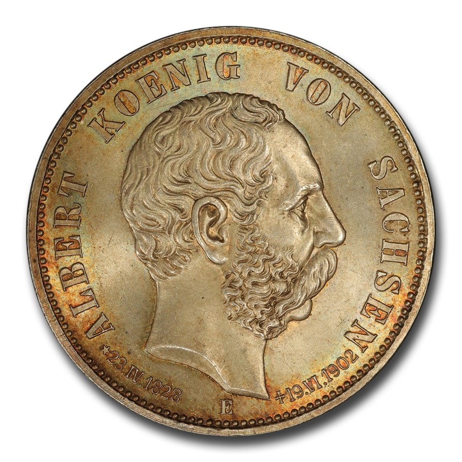1902 German Saxony-Albertine Albert's Death 5 Mark MS-66 NGC