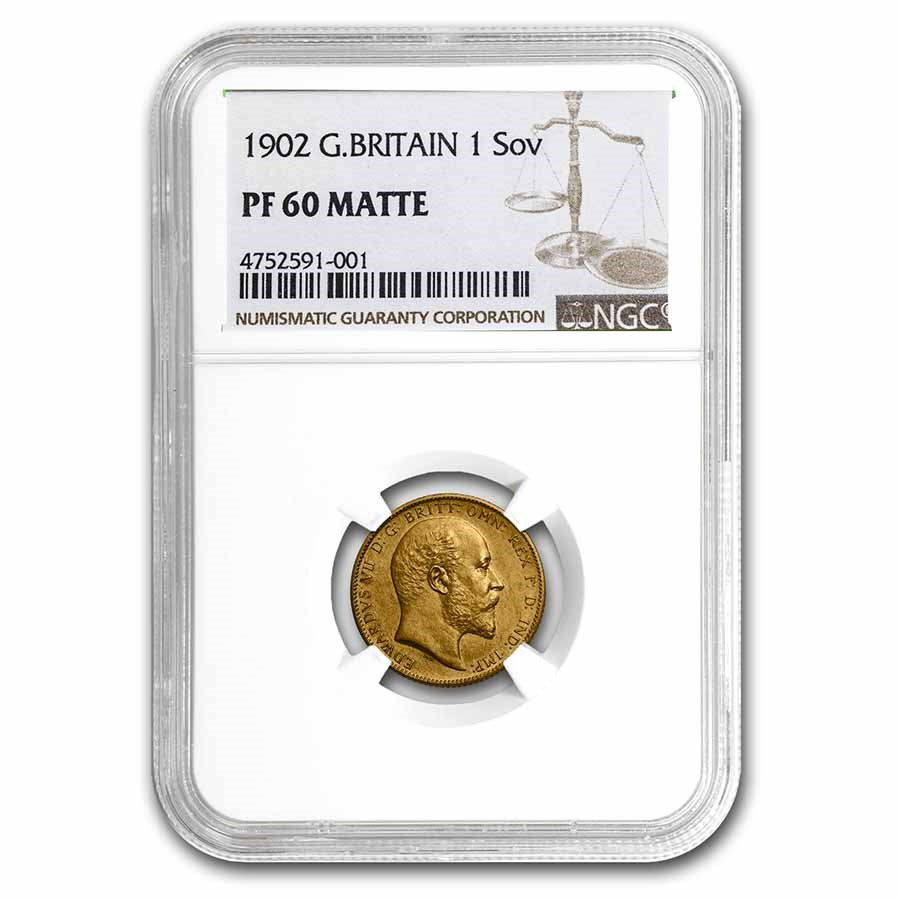 1902 Great Britain Gold Sovereign King Edward VII PF-60 Matte NGC