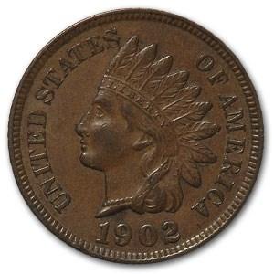 1902 Indian Head Cent AU
