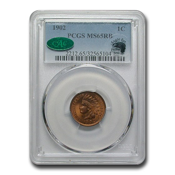1902 Indian Head Cent MS-65 PCGS CAC (Red/Brown)