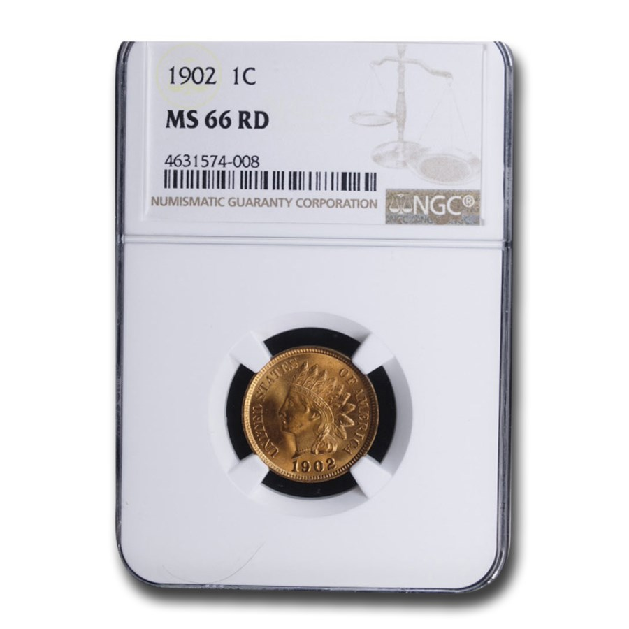 1902 Indian Head Cent MS-66 NGC (Red)