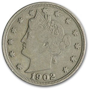 1902 Liberty Head V Nickel Fine