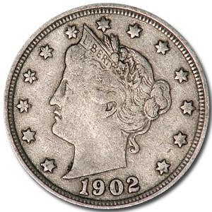 1902 Liberty Head V Nickel VF