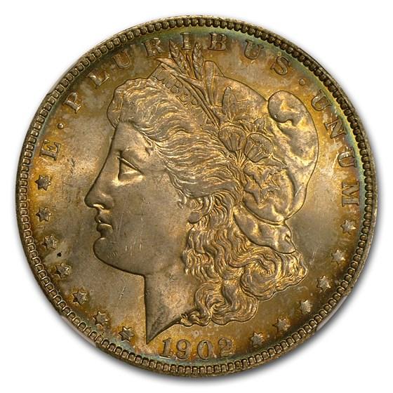 1902 Morgan Dollar MS-64 NGC (Blue, Rim Toning)