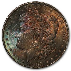 1902-O Morgan Dollar MS-64 PCGS (Blue & Russet Toning)