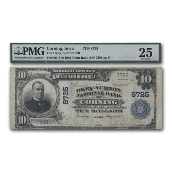 1902 Plain Back $10 Corning, Iowa VF-25 PMG (CH#8725)