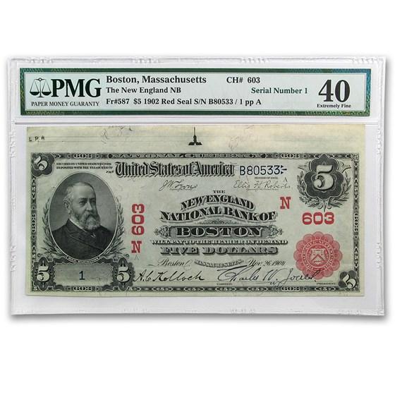 1902 Plain Back $5.00 Boston, MA Serial # 1 XF-40 PMG (CH #603)