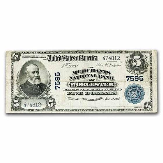 1902 Plain Back $5 Worcester, MA Fine (Fr#598) CH#7595