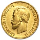 1902 Russia Gold 10 Roubles AU