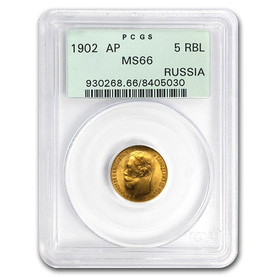 1902 Russia Gold 5 Roubles MS-66 PCGS