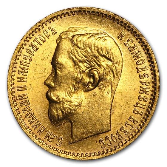 1902 Russia Gold 5 Roubles Nicholas II BU