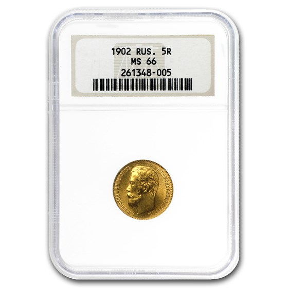 1902 Russia Gold 5 Roubles Nicholas II MS-66 NGC