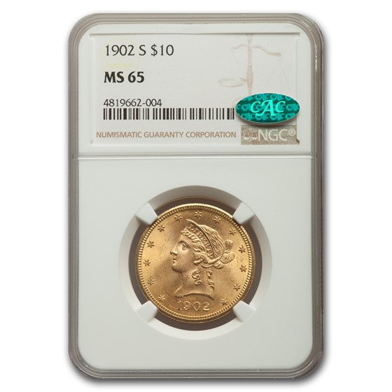1902-S $10 Liberty Gold Eagle MS-65 NGC CAC