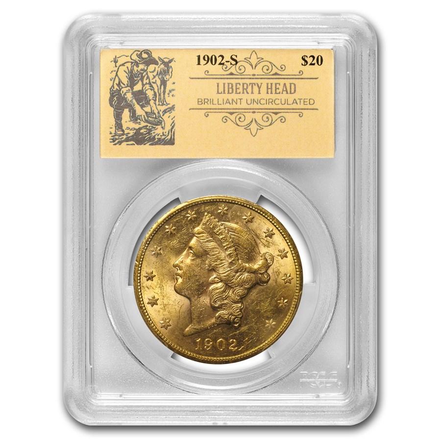 1902-S $20 Liberty Gold Double Eagle BU PCGS (Prospector Label)
