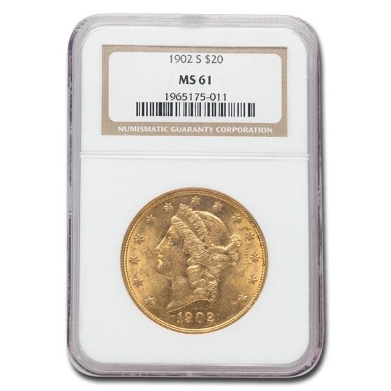 1902-S $20 Liberty Gold Double Eagle MS-61 NGC