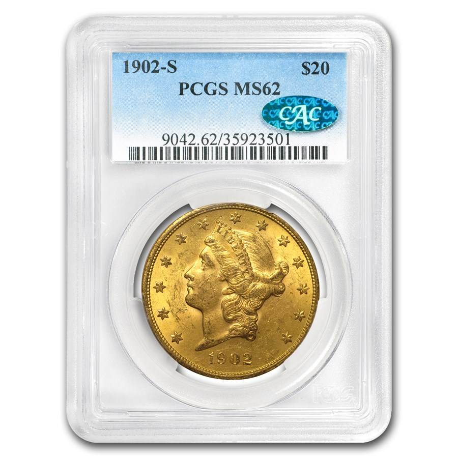 1902-S $20 Liberty Gold Double Eagle MS-62 PCGS (CAC)