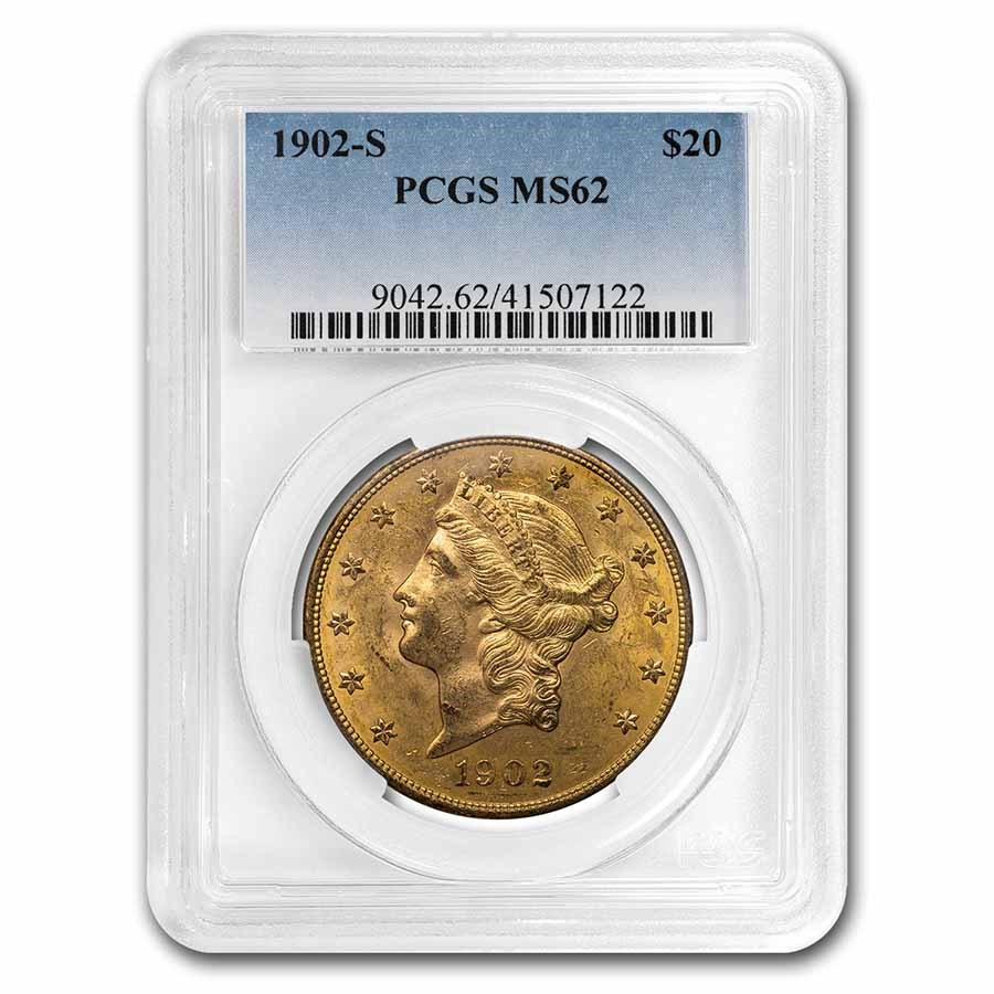 1902-S $20 Liberty Gold Double Eagle MS-62 PCGS