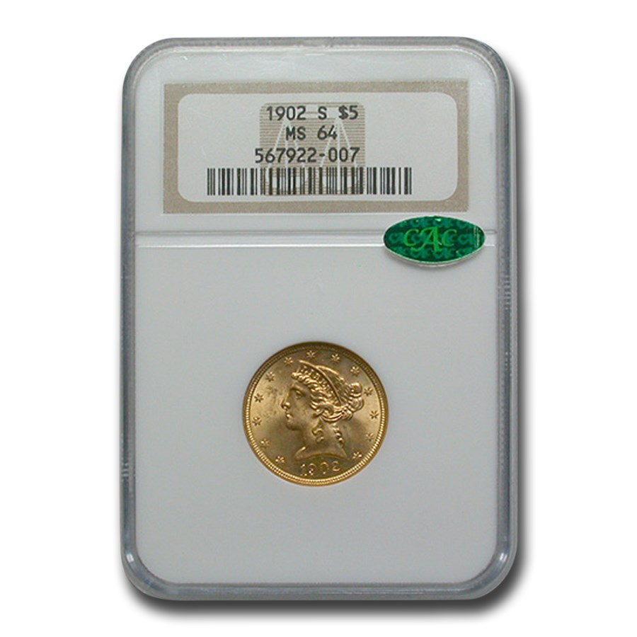 1902-S $5 Liberty Gold Half Eagle MS-64 NGC CAC