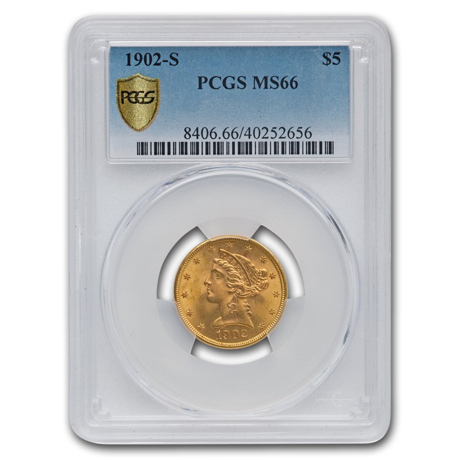 1902-S $5 Liberty Gold Half Eagle MS-66 PCGS