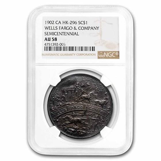1902 Wells Fargo Semicentennial So-Called Dollar HK-296 AU-58 NGC