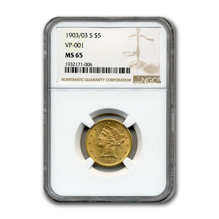 1903/03-S $5 Liberty Gold Half Eagle MS-65 NGC (VP-001)