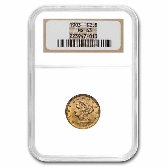 1903 $2.50 Liberty Gold Quarter Eagle MS-63 NGC