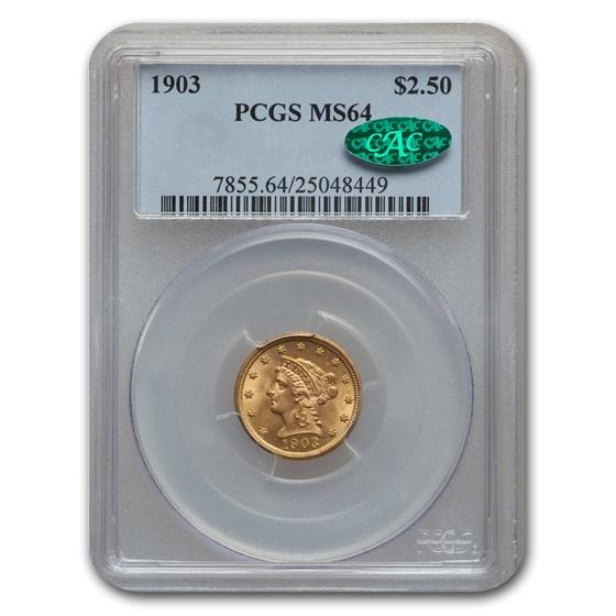 1903 $2.50 Liberty Gold Quarter Eagle MS-64 PCGS CAC