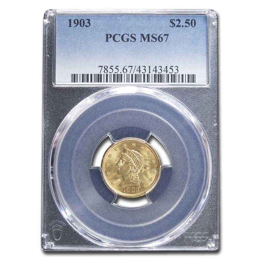 1903 $2.50 Liberty Gold Quarter Eagle MS-67 PCGS