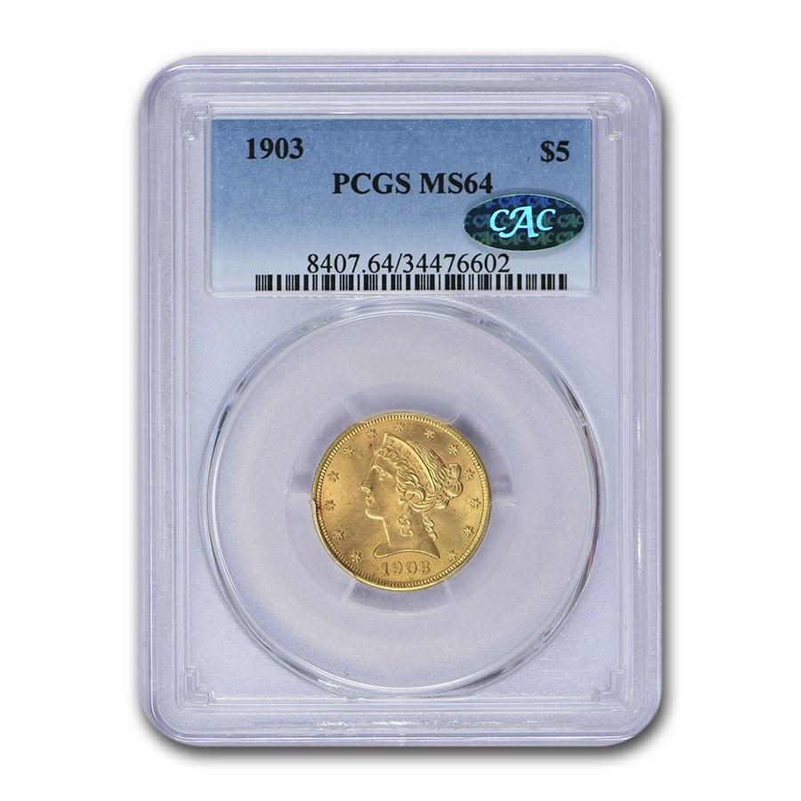 1903 $5 Liberty Gold Half Eagle MS-64 PCGS CAC
