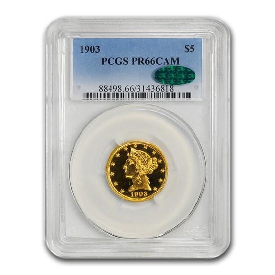 1903 $5 Liberty Gold Half Eagle PR-66 Cameo PCGS CAC