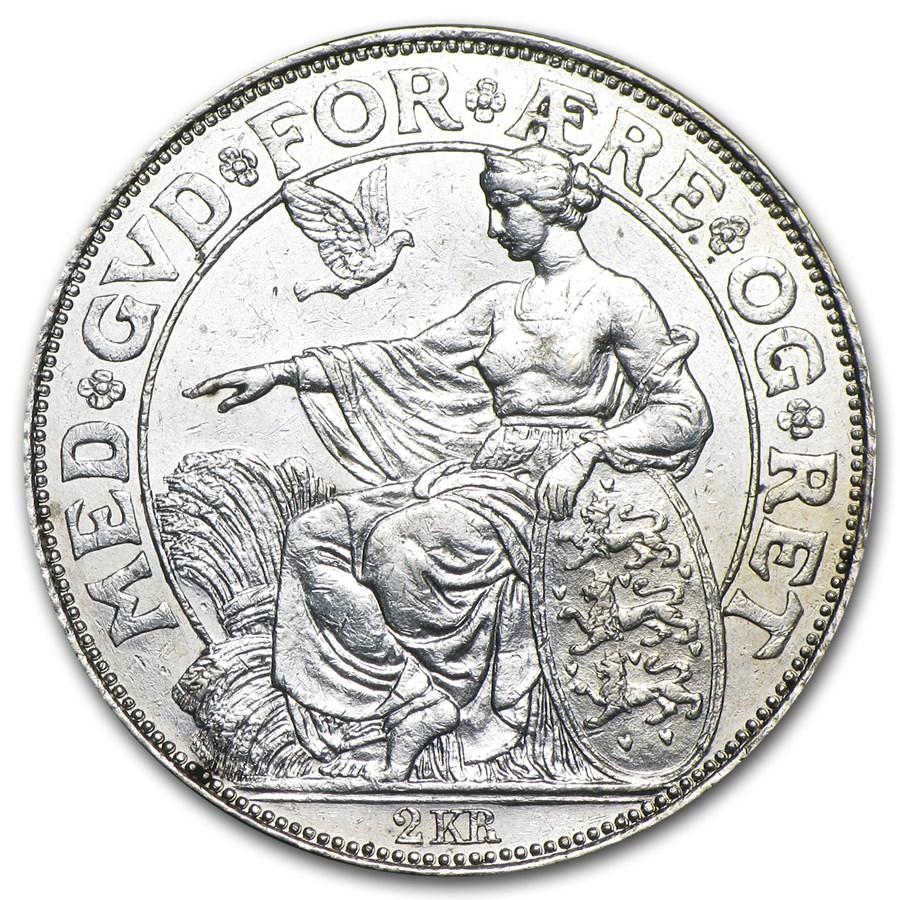 1903 Denmark Silver 2 Kroner EF+