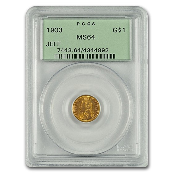 1903 Gold $1.00 Jefferson Commem MS-64 PCGS