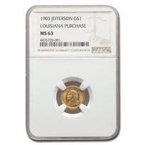 1903 Gold $1.00 Louisiana Purchase Jefferson MS-63 NGC