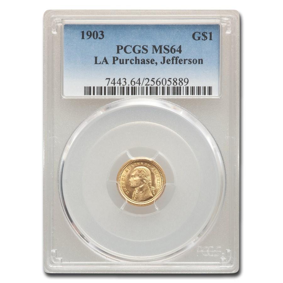 1903 Gold $1.00 Louisiana Purchase Jefferson MS-64 PCGS