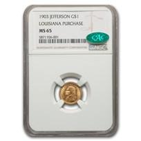 1903 Gold $1.00 Louisiana Purchase Jefferson MS-65 NGC (CAC)